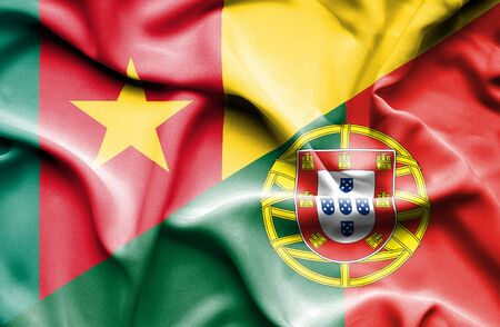 portugese: Waving flag of Portugal and Cameroon Stock Photo