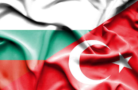 Waving flag of Turkey and Bulgaria Foto de archivo