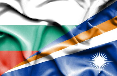 marshall: Waving flag of Marshall Islands and Bulgaria