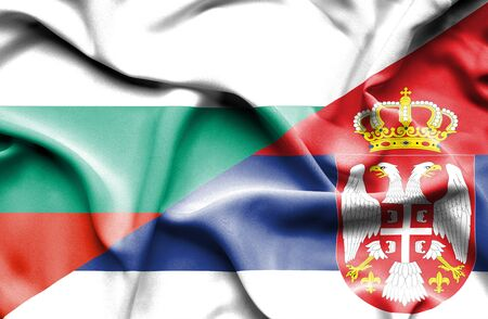 serbia: Waving flag of Serbia and Bulgaria Stock Photo