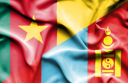 cameroon: Waving flag of Mongolia and Cameroon