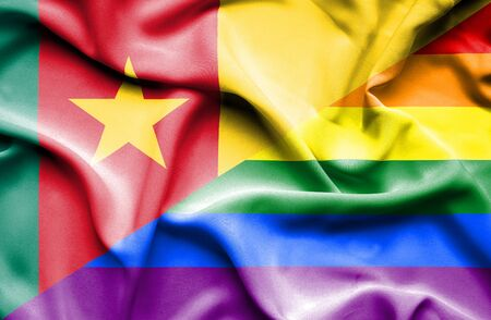 cameroon: Waving flag of LGBT and Cameroon Stock Photo