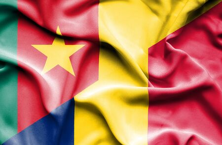 cameroon: Waving flag of Chad and Cameroon Stock Photo