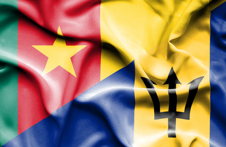 cameroon: Waving flag of Barbados and Cameroon