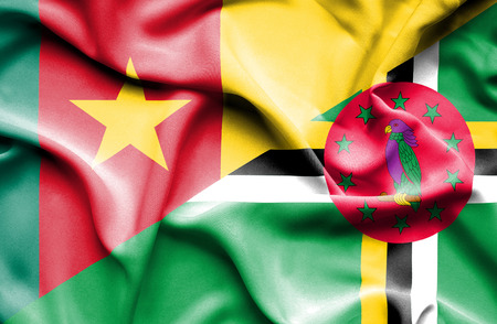 dominica: Waving flag of Dominica and Cameroon