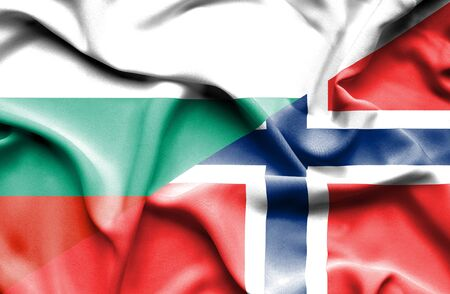 norway flag: Waving flag of Norway and Bulgaria