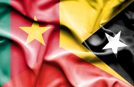 cameroon: Waving flag of East Timor and Cameroon