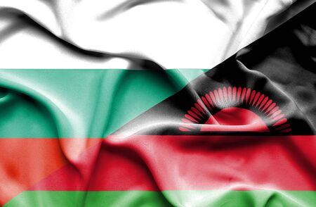malawian flag: Waving flag of Malawi and Bulgaria Stock Photo