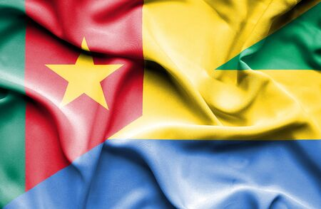 cameroonian: Waving flag of Gabon and Cameroon Stock Photo