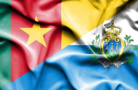 san marino: Waving flag of San Marino and Cameroon