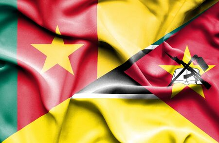 cameroonian: Waving flag of Mozambique and Cameroon Stock Photo