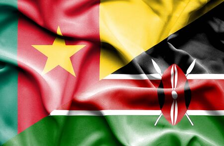 cameroon: Waving flag of Kenya and Cameroon Stock Photo