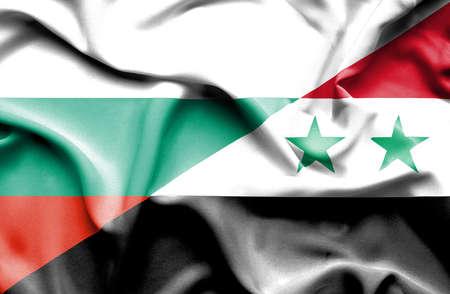 syria peace: Waving flag of Syria and Bulgaria