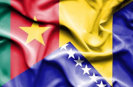 herzegovina: Waving flag of Bosnia and Herzegovina and Cameroon Stock Photo