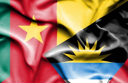 antigua: Waving flag of Antigua and Barbuda and Cameroon