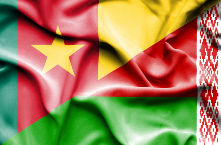 cameroonian: Waving flag of Belarus and Cameroon