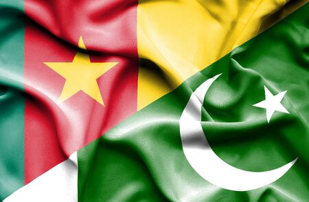 cameroon: Waving flag of Pakistan and Cameroon Stock Photo