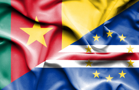 cape verde: Waving flag of Cape Verde and Cameroon Stock Photo