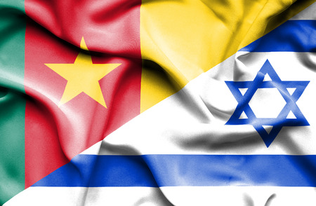 Waving flag of Israel and Cameroon