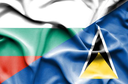 lucia: Waving flag of St Lucia and Bulgaria Stock Photo