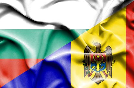 moldavia: Waving flag of Moldavia and Bulgaria