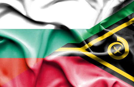 vanuatu: Waving flag of Vanuatu and Bulgaria