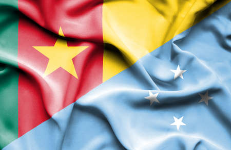 micronesia: Waving flag of Micronesia and Cameroon