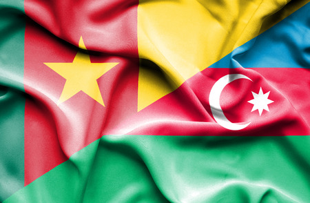 cameroon: Waving flag of Azerbajan and Cameroon Stock Photo