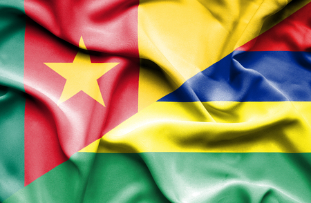 cameroon: Waving flag of Mauritius and Cameroon