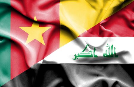 iraq conflict: Waving flag of Iraq and Cameroon Stock Photo