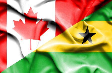principe: Ondeando la bandera de Santo Tomé y Príncipe y Canadá