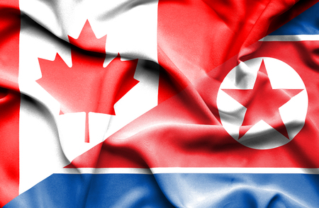 north korea: Waving flag of North Korea and Canada