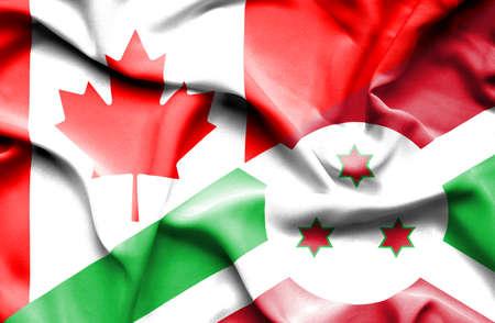 burundi: Waving flag of Burundi and Canada