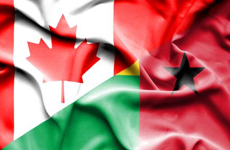 guinea bissau: Waving flag of Guinea Bissau and Canada