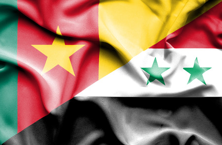 syria peace: Waving flag of Syria and Cameroon Stock Photo