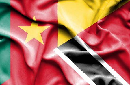 tobago: Waving flag of Trinidad and Tobago and Cameroon Stock Photo