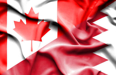 bahrain money: Waving flag of Bahrain and Canada Stock Photo