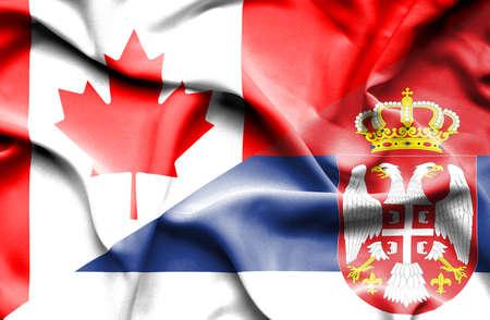 serbia: Waving flag of Serbia and Canada