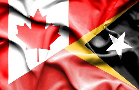 timor: Waving flag of East Timor and Canada