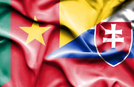 cameroonian: Waving flag of Slovakia and Cameroon