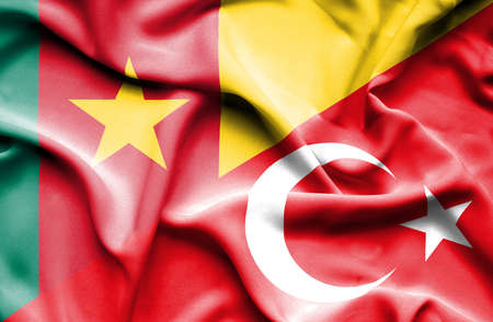 cameroon: Waving flag of Turkey and Cameroon