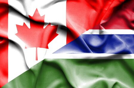 gambia: Waving flag of Gambia and Canada