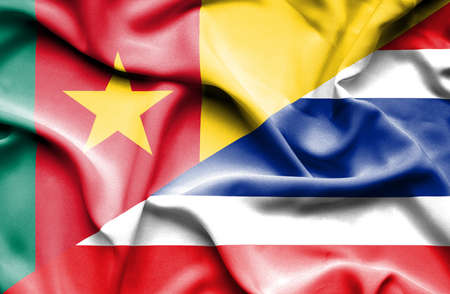 cameroon: Waving flag of Thailand and Cameroon Stock Photo