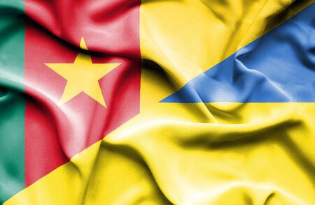 cameroon: Waving flag of Ukraine and Cameroon