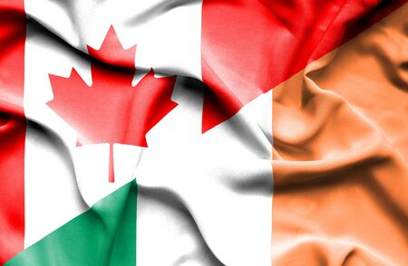 canadian: Waving flag of Ireland and Canada