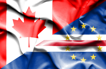 cape verde: Waving flag of Cape Verde and Canada Stock Photo