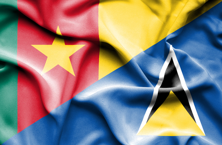 st lucia: Waving flag of St Lucia and Cameroon