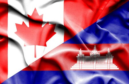 cambodian flag: Waving flag of Cambodia and Canada Stock Photo