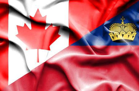 lichtenstein: Waving flag of Lichtenstein and Canada