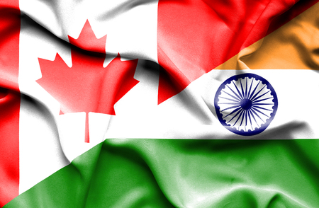 canadian flag: Waving flag of India and Canada